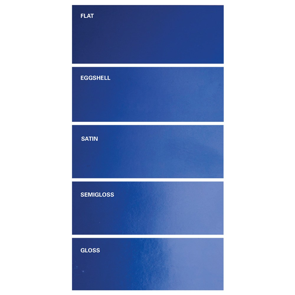 Different types of paint sheens.