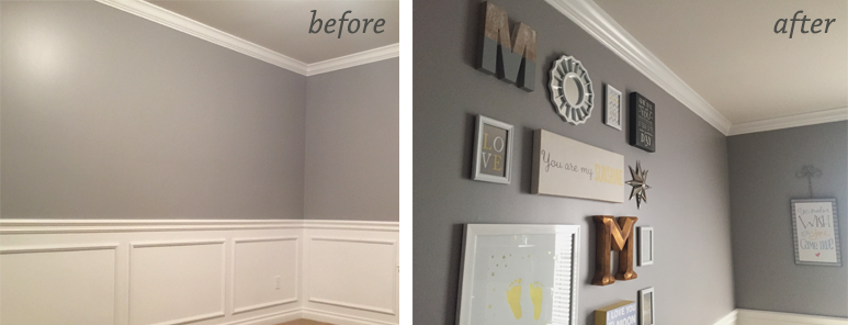 Nursery Wall Before and After