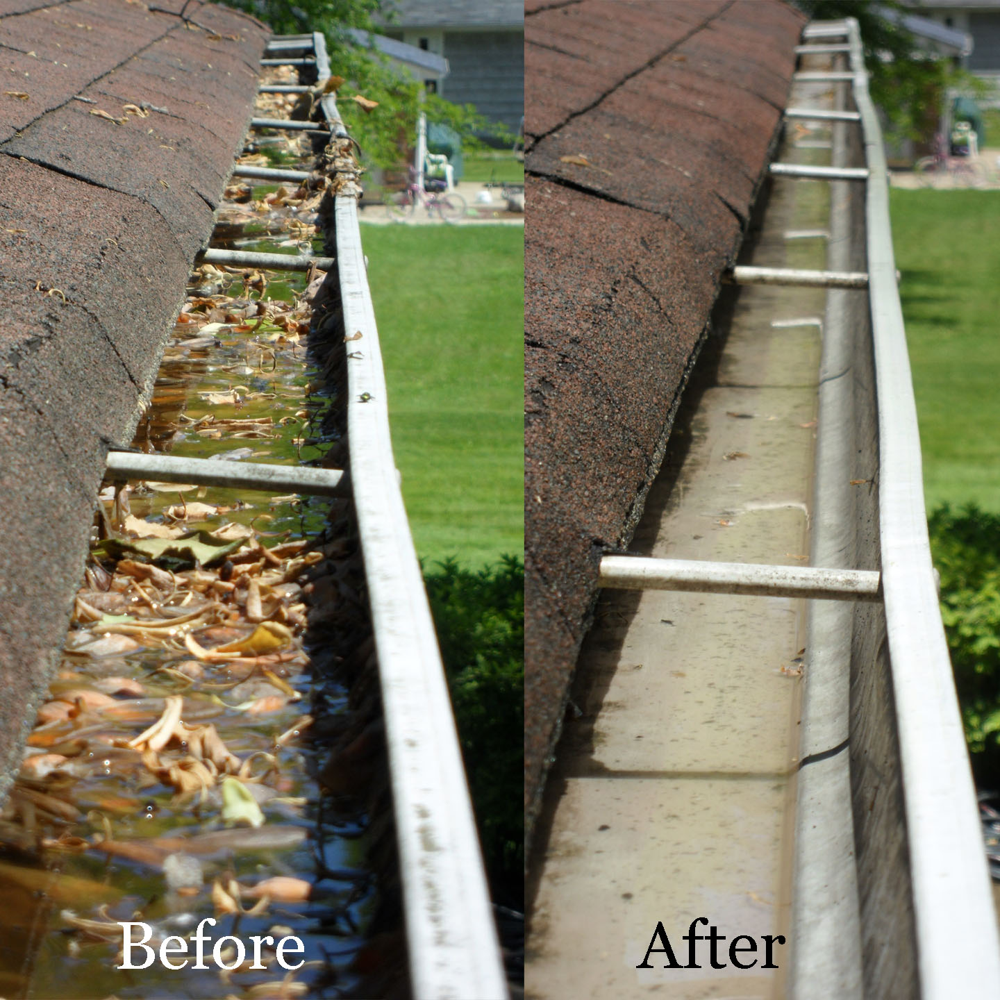 Before and after pressure washing dirty gutters.