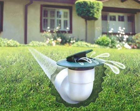 Pop-up emitters use hydrostatic pressure to release water away from your foundation.