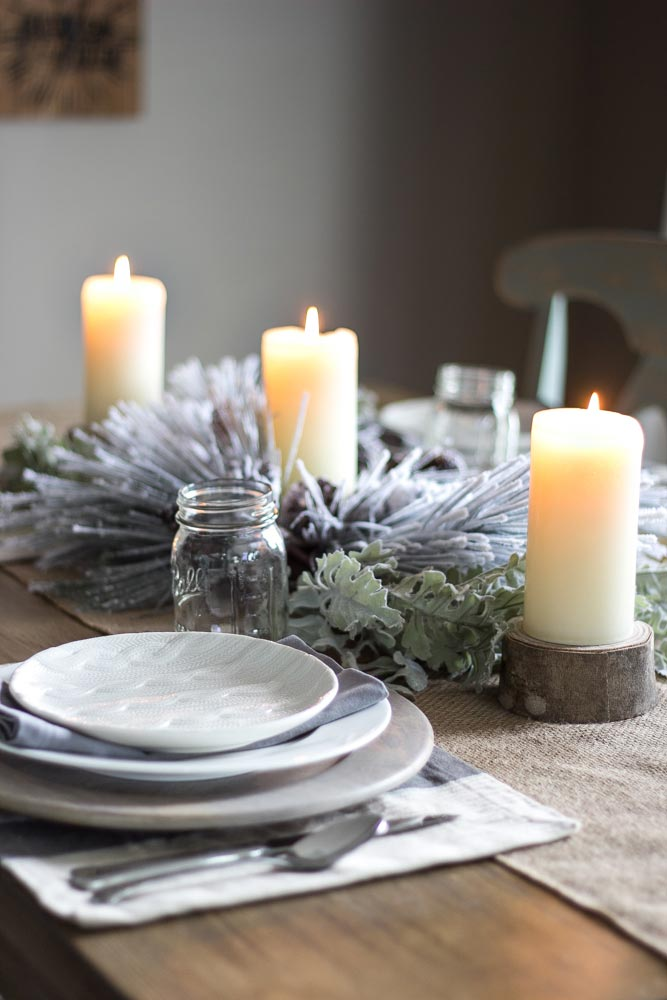 Simple Rustic Winter Tablescape. Image: Bless'er House