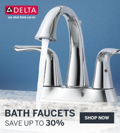 Save up to 30% on Delta bathroom faucets in a variety of styles and finishes.