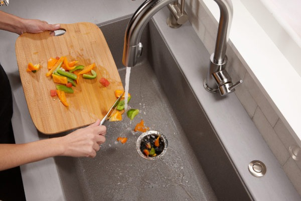Garbage Disposal Maintenance | Only throw small pieces of food scraps down the disposal.