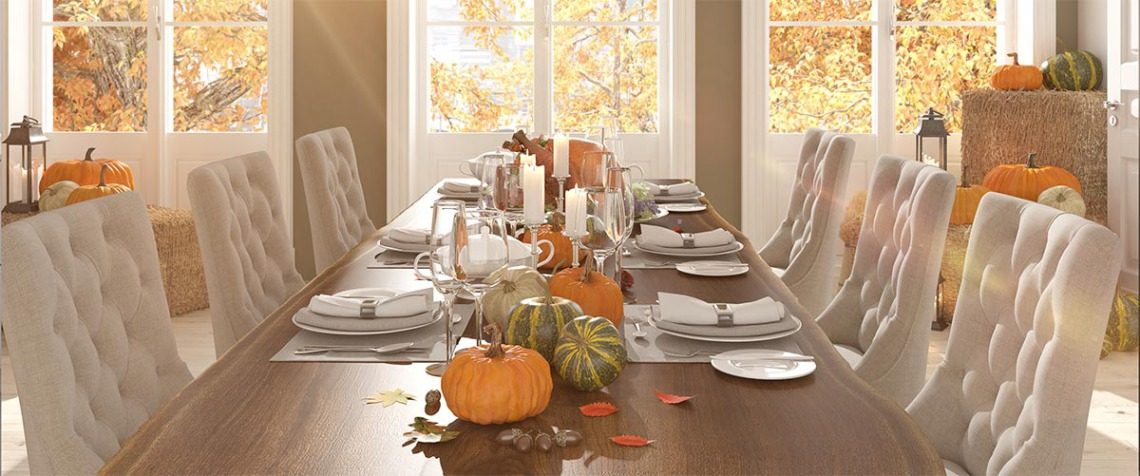 Autumn-themed kitchen table centerpiece and decor. | GreyDock Blog