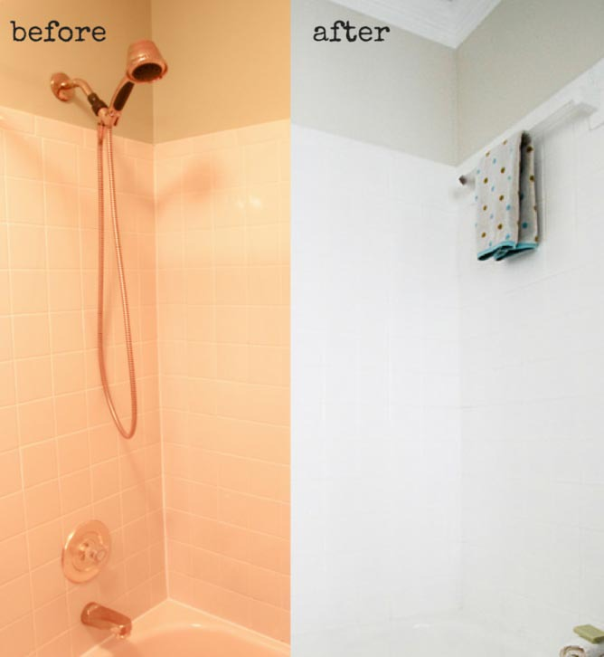 Painted tile shower via Heathered Nest.