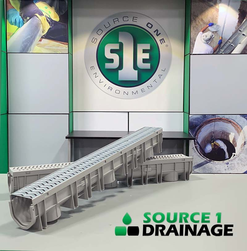 Source 1 Drainage's channel drain is an effective solution to getting rid of standing water.