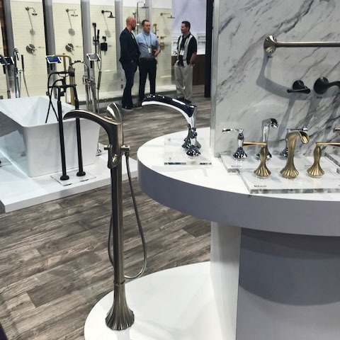 KBIS 2019 Bathroom Trend: Softer finishes like champagne were everywhere.