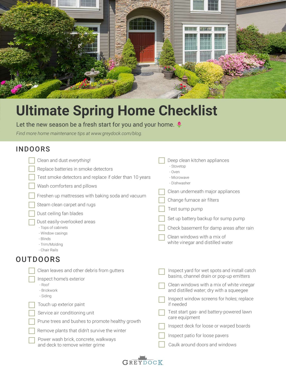 The Ultimate Spring Home Maintenance Checklist (+ FREE Printable) | GreyDock Blog
