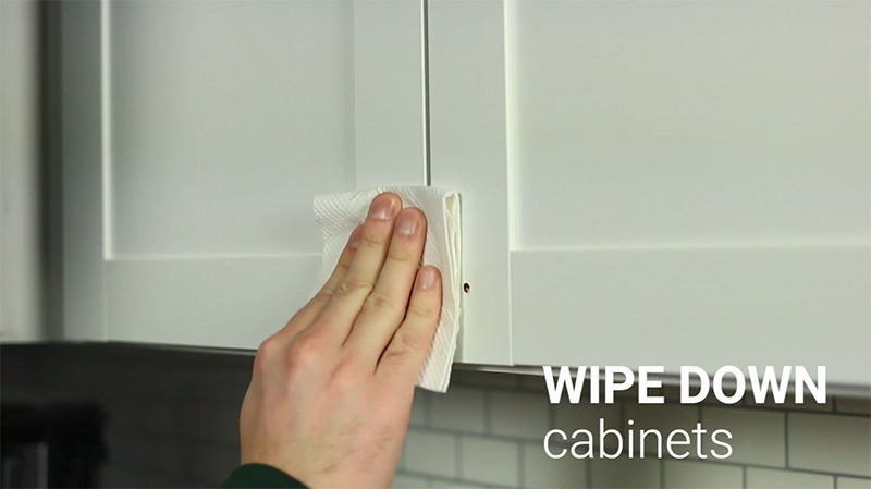 Replacing Cabinet Hardware - Step 2: Wipe down and clean cabinet doors
