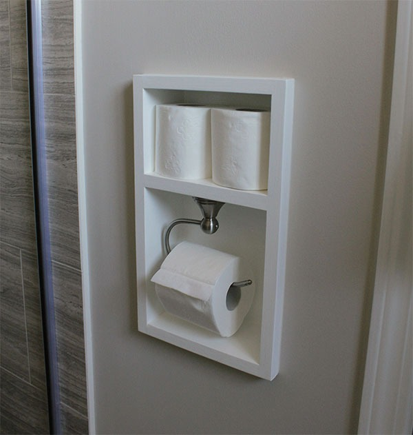 Use recessed shelves in the bathroom to store everything from toilet paper to shampoo.