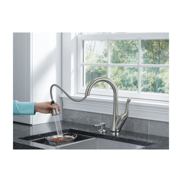 Delta Faucet Talbott 16968 Sssd Dst Single Handle Pull Down Kitchen Faucet With Soap Dispenser Stainless Greydock Com