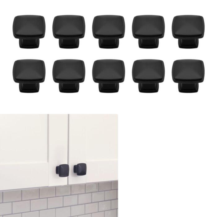 10 Pack Matte Flat Black Cabinet Hardware Modern Farmhouse Kitchen Bath Drawer Door Square Deco Knob 1 25 Diameter Greydock Com