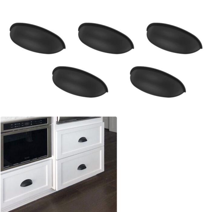 5 Pack Matte Flat Black Cabinet Hardware Modern Farmhouse Kitchen Bath Bin Pull Door Drawer Handle 3 Hole Center Greydock Com
