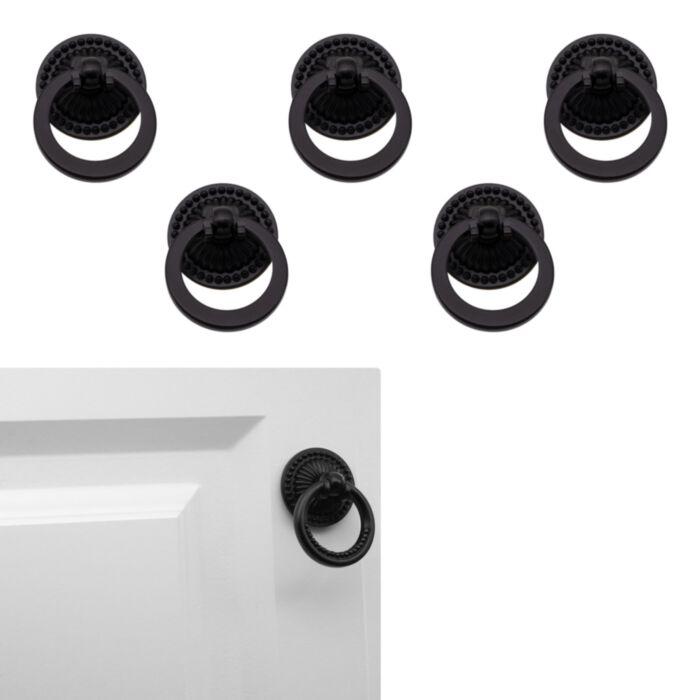5 Pack Matte Flat Black Cabinet Hardware Vintage Style Replacement Ring Furniture Pull Drawer Handle 1 5 Greydock Com