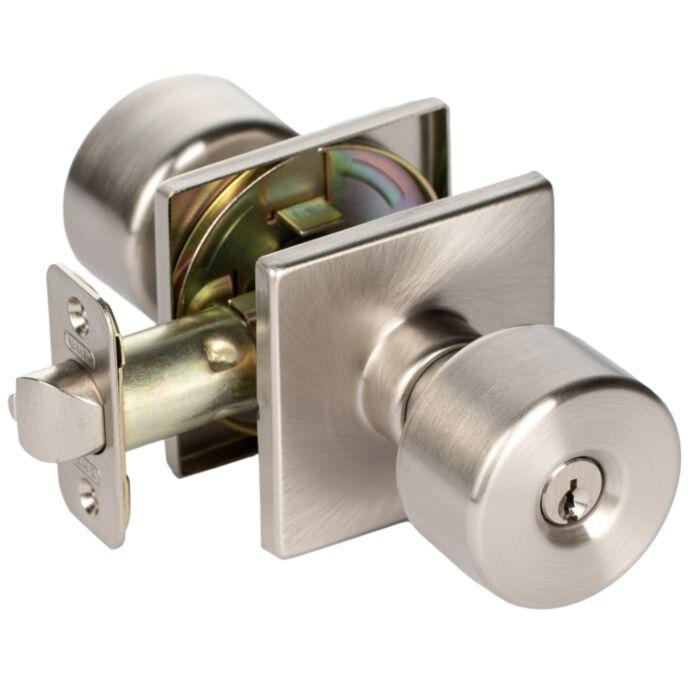 Bhp Union Square Modern Flat Keyed Entry Door Knob Exterior Handle Lock With Square Rose In Satin Nickel Greydock Com