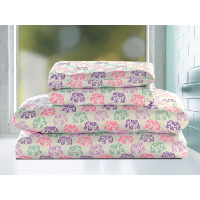 Aubrie Home Accents Elephants Twin 3 Piece Sheet Set Boho Persian Bedding Pink Purple Teal Discontinued No Longer Available Greydock Com