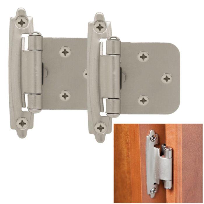 Classic Hardware 2 Pack Kitchen Cabinet Door Hinge Self Closing Face Mount Satin Nickel Greydock Com
