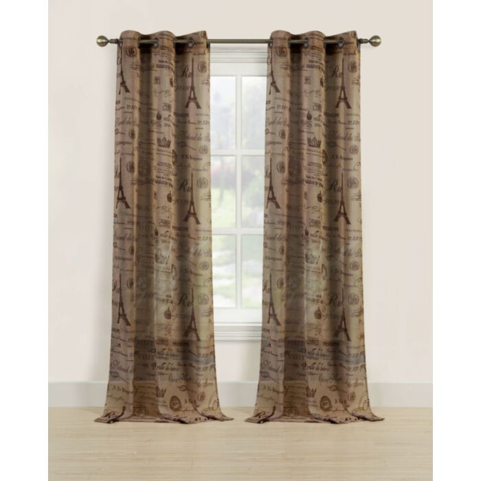 Paris Sheer Window Curtains 84, Tan And Brown Curtains