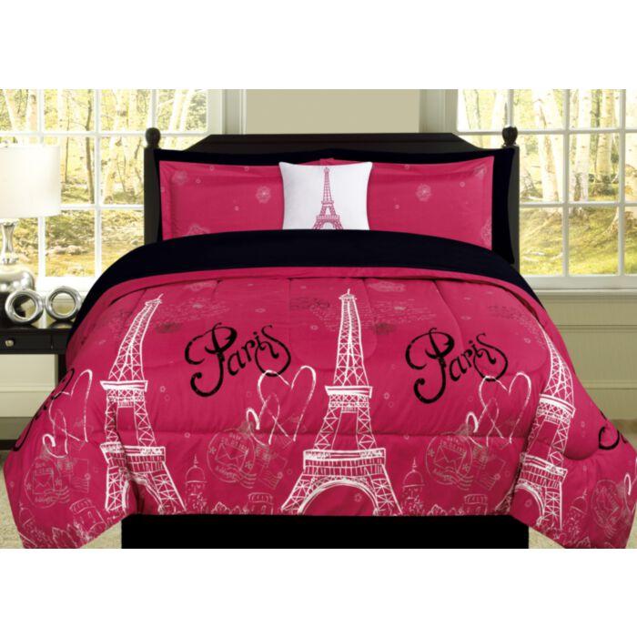 Beatrice Paris Love Queen Comforter Pink Black Eiffel Tower Bedding And Sheet 8 Piece Set Greydock Com