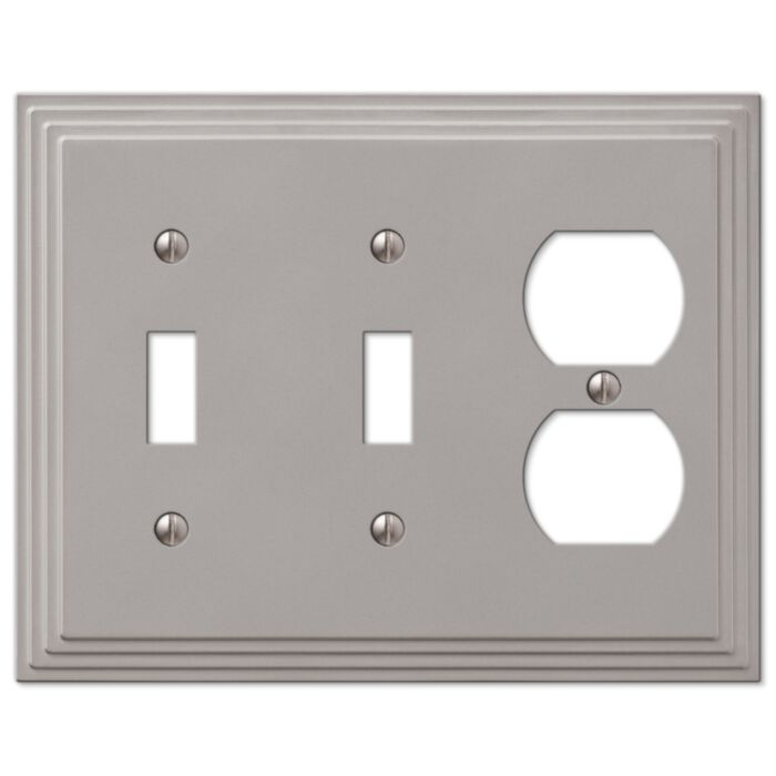 Amerelle Steps 2 Toggle Switch 1 Duplex Outlet Combination Wall Plate Satin Nickel Greydock Com