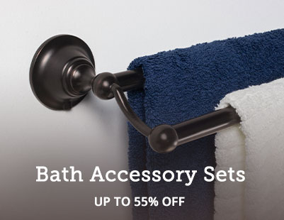Save up to 55% on bathroom hardware accessory sets.